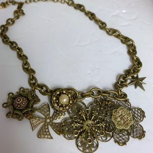 Vintage Charm Necklace Mixed Metals
